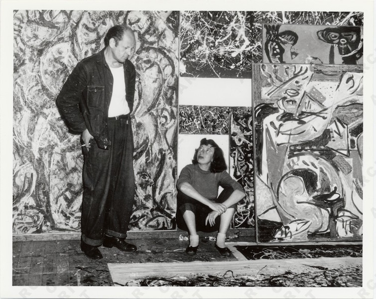 Jackson Pollock y Lee Krasner en su estudio.