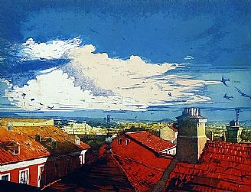 Cielo de verano |Obra gráfica de Clara Gangutia | Compra arte en Flecha.es