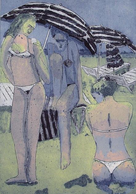 Chicas en la Playa |Obra gráfica de Jenifer Elisabeth Carey | Compra arte en Flecha.es
