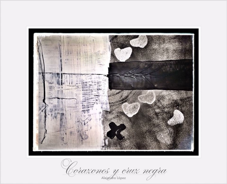 Corazones y una cruz |Obra gráfica de Alejandro Lopez | Compra arte en Flecha.es