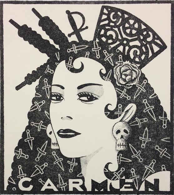 Serie: Diosas de la ópera: Carmen b/n |Obra gráfica de Fernando Bellver | Compra arte en Flecha.es
