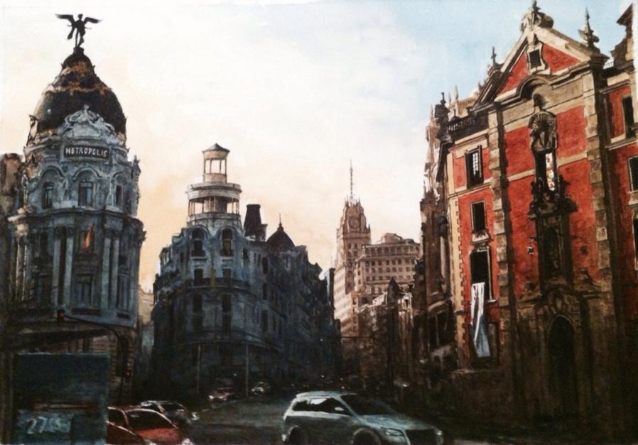 Calle Gran Vía de Madrid  Pintura de Pedro Higueras   Compra arte en Flecha.es