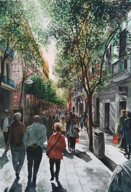 calle de Fuencarral, Madrid |Pintura de Pedro Higueras | Compra arte en Flecha.es