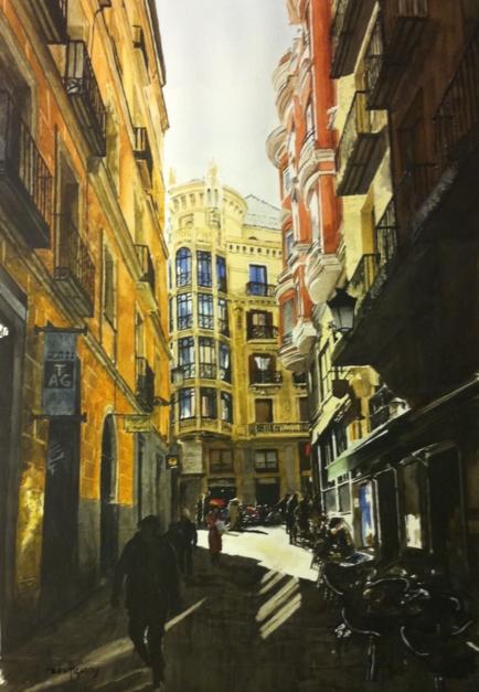 desde San Ginés a la calle Mayor, Madrid |Pintura de Pedro Higueras | Compra arte en Flecha.es
