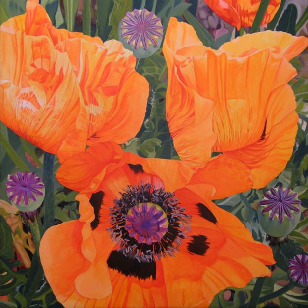 Tres amapolas  Pintura de Carmen Varela   Compra arte en Flecha.es