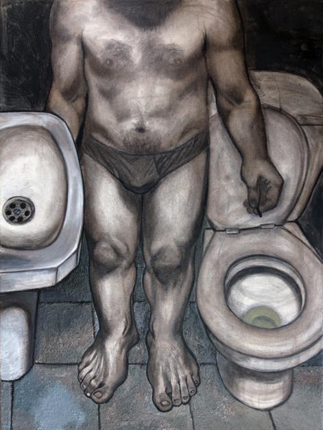 Autorretrato en el váter 2 |Pintura de Fernando Charro | Compra arte en Flecha.es