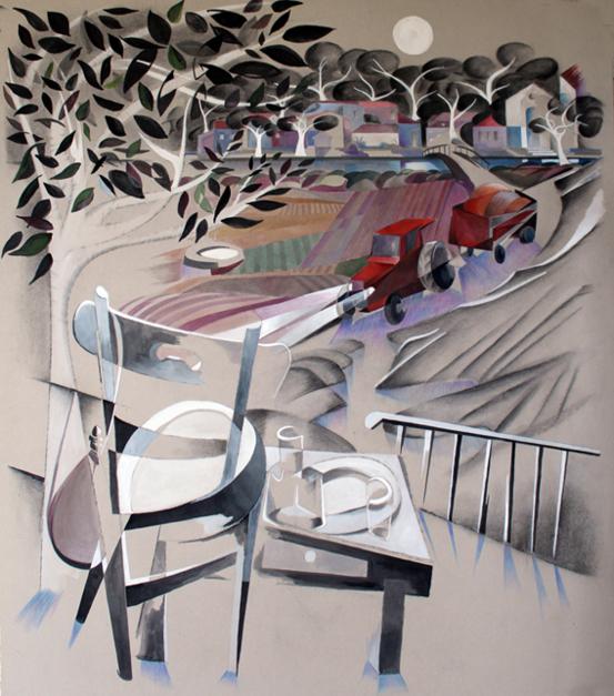 El tractor rojo |Pintura de Miguel Mansanet | Compra arte en Flecha.es