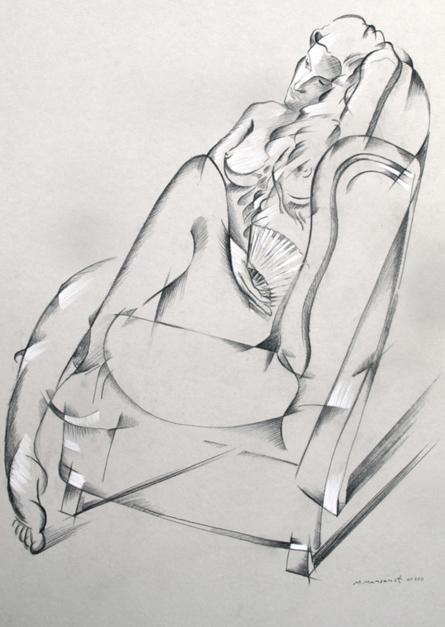 Mujer con abanico |Dibujo de Miguel Mansanet | Compra arte en Flecha.es