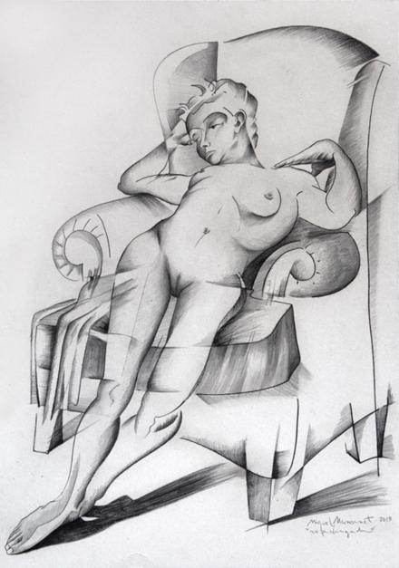 mujer cansada |Dibujo de Miguel Mansanet | Compra arte en Flecha.es