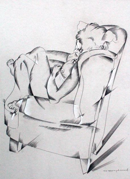 mujer escuchando música |Dibujo de Miguel Mansanet | Compra arte en Flecha.es