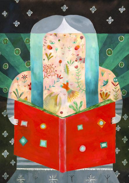 La lectura, una puerta abierta a un mundo encantado |Dibujo de Ana Suárez | Compra arte en Flecha.es