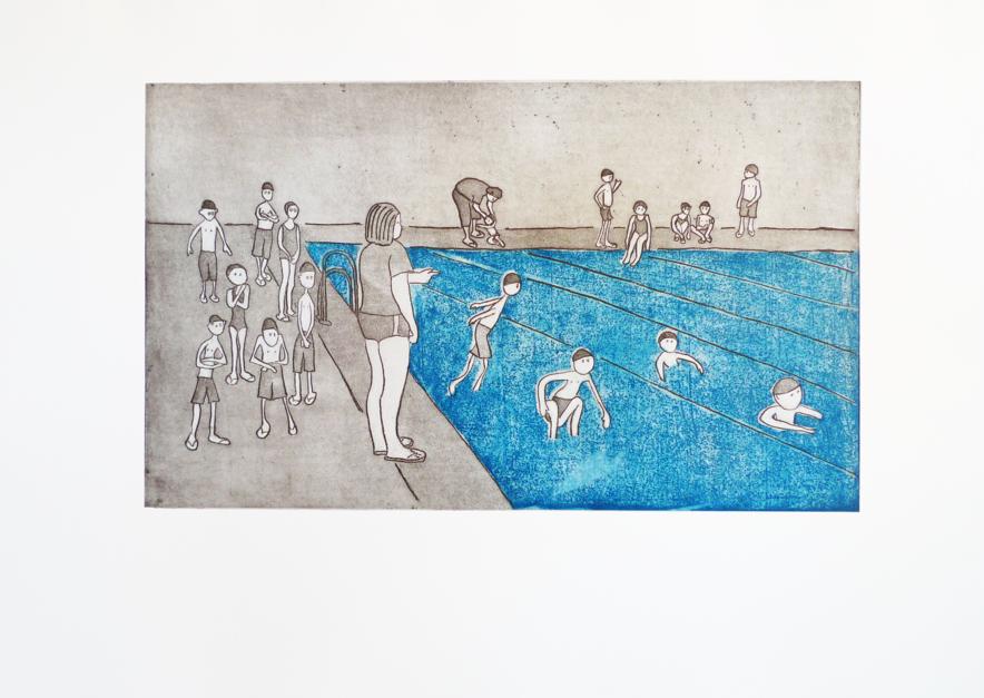 Natación Obligatoria  Obra gráfica de Ana Valenciano   Compra arte en Flecha.es