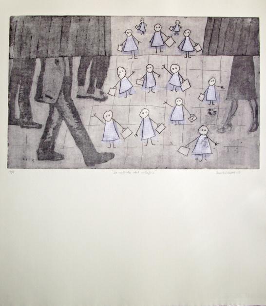 La salida del colegio |Obra gráfica de Ana Valenciano | Compra arte en Flecha.es