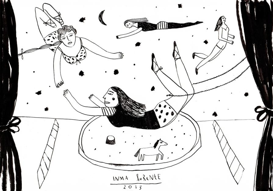 Trapecistas |Dibujo de Inma Lorente | Compra arte en Flecha.es