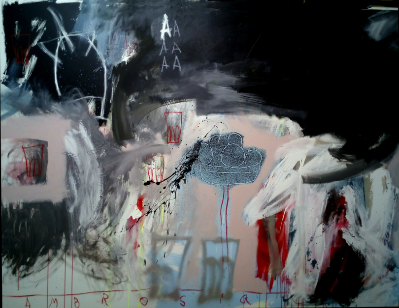 Ordinary objects playing bellow the A |Pintura de Almudena  Blanco | Compra arte en Flecha.es