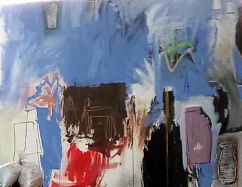 Blue, a Dog and Some Other Things  Pintura de Almudena  Blanco   Compra arte en Flecha.es