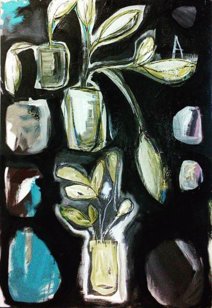 Plants living on black, |Pintura de Almudena  Blanco | Compra arte en Flecha.es