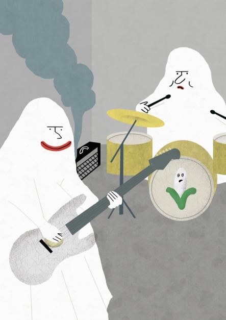 Fantasmas musicales |Dibujo de Elena Éper | Compra arte en Flecha.es