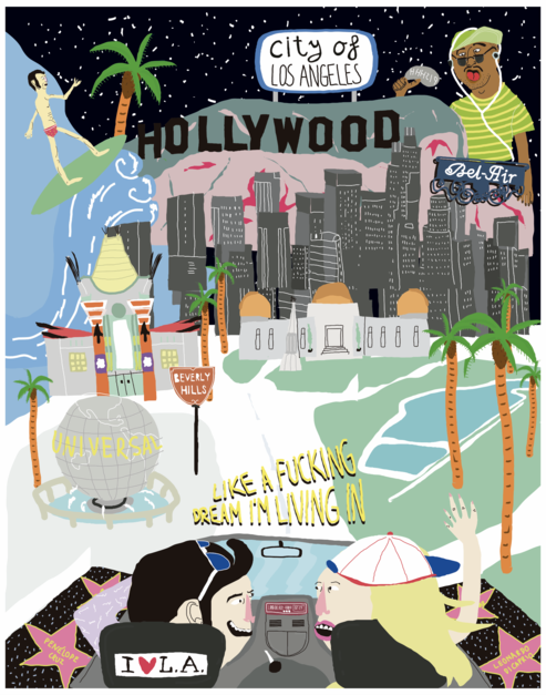 Mapa L.A. |Dibujo de Elena Éper | Compra arte en Flecha.es