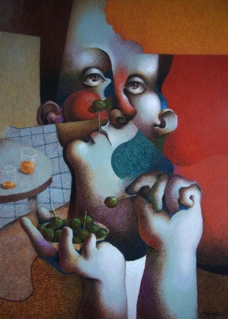 Man eating olives |Dibujo de Carlos Blanco Artero | Compra arte en Flecha.es