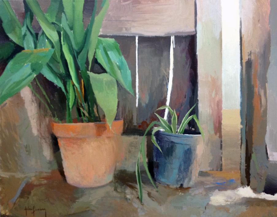 Las macetas de la puerta |Pintura de Antonio Barahona | Compra arte en Flecha.es