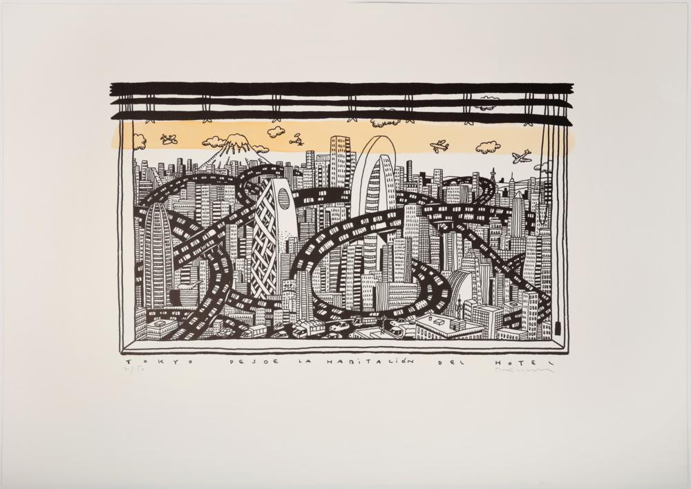 Tokio desde el hotel  Obra gráfica de Fernando Bellver   Compra arte en Flecha.es