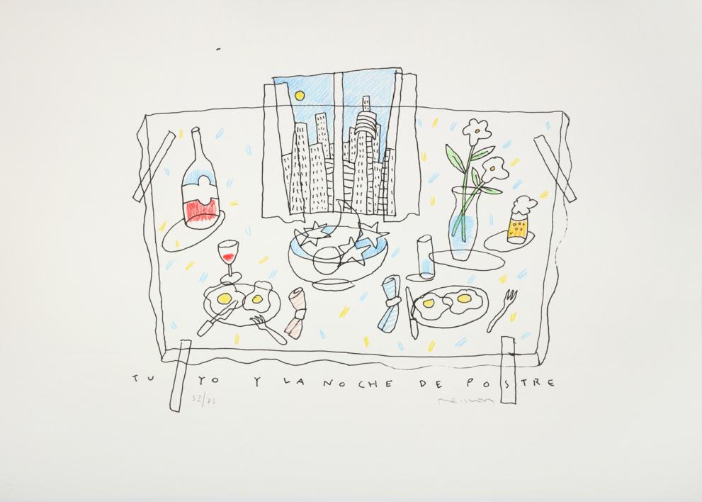 Tu, yo y la noche de postre |Obra gráfica de Fernando Bellver | Compra arte en Flecha.es
