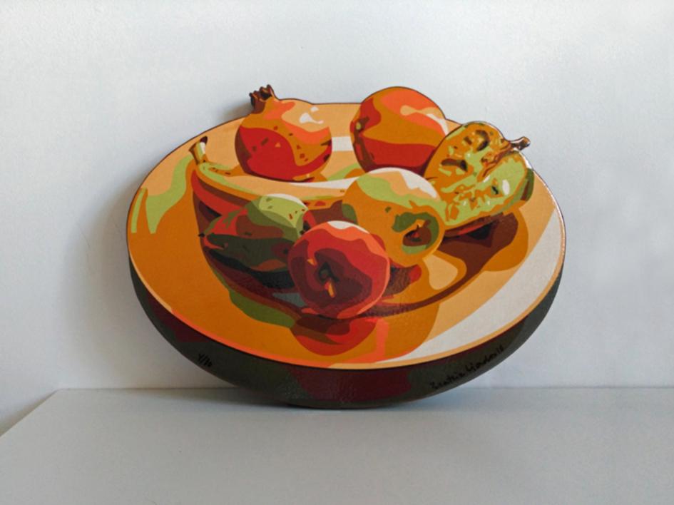 Plato con frutas |Escultura de pared de Beatriz Ujados | Compra arte en Flecha.es