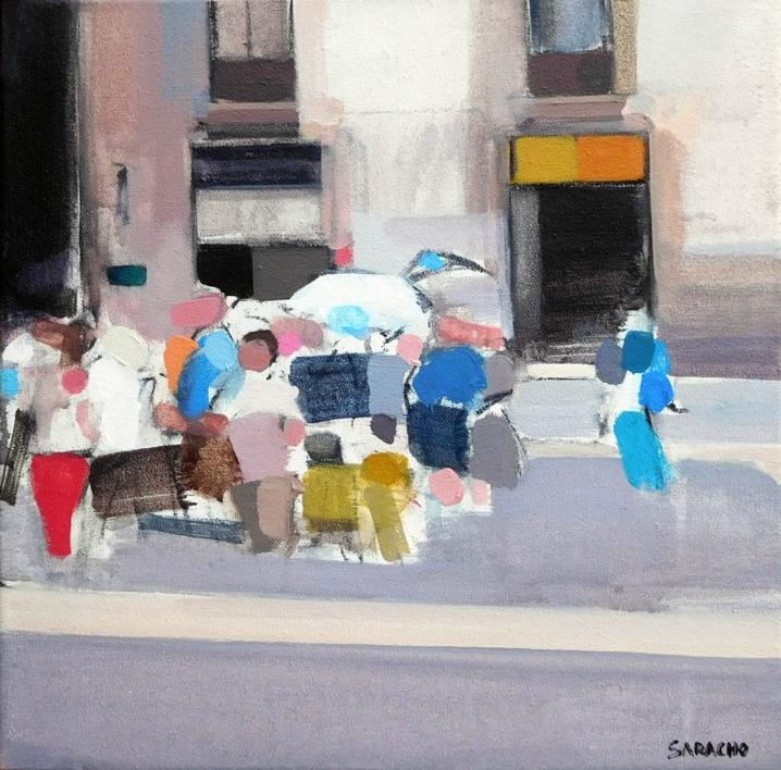 Gente en el Born |Pintura de Saracho | Compra arte en Flecha.es
