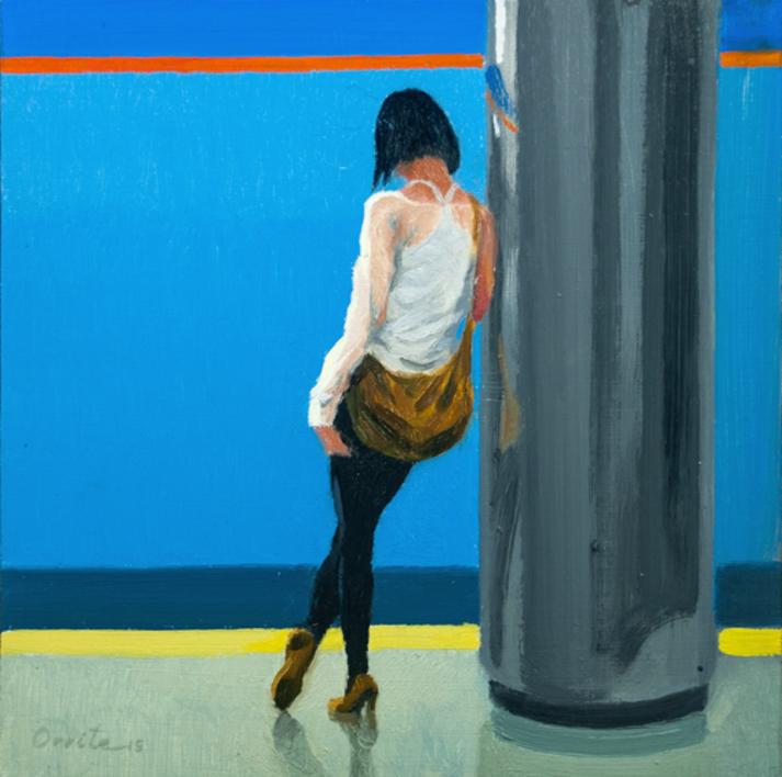 Apoyada en la columna |Pintura de Orrite | Compra arte en Flecha.es