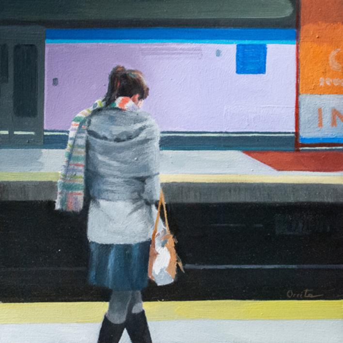 Mirando el móvil |Pintura de Orrite | Compra arte en Flecha.es