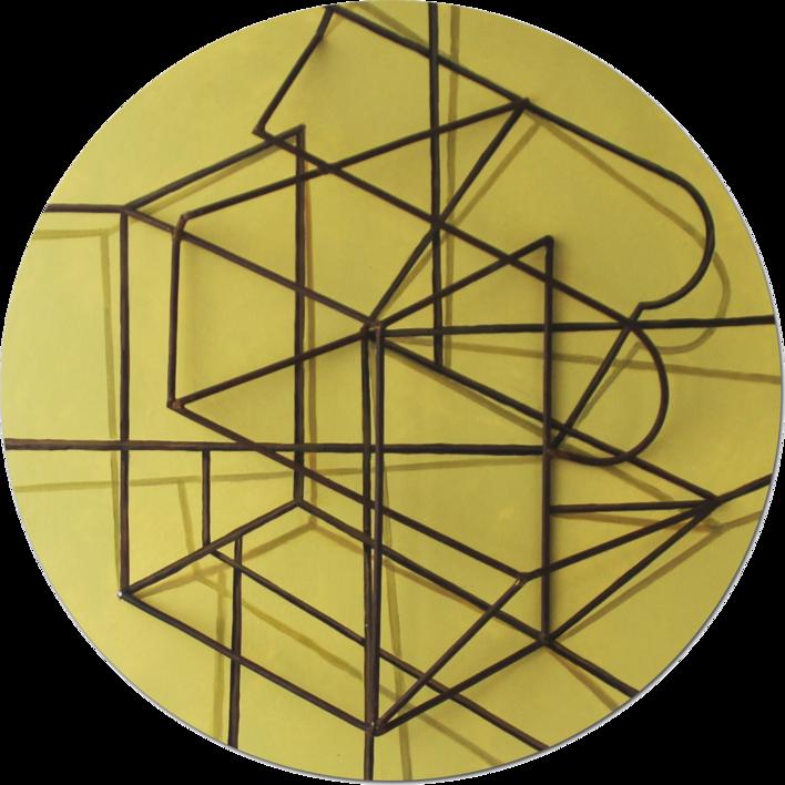Constelación sobre amarillo |Pintura de Manuel Sánchez-Algora | Compra arte en Flecha.es