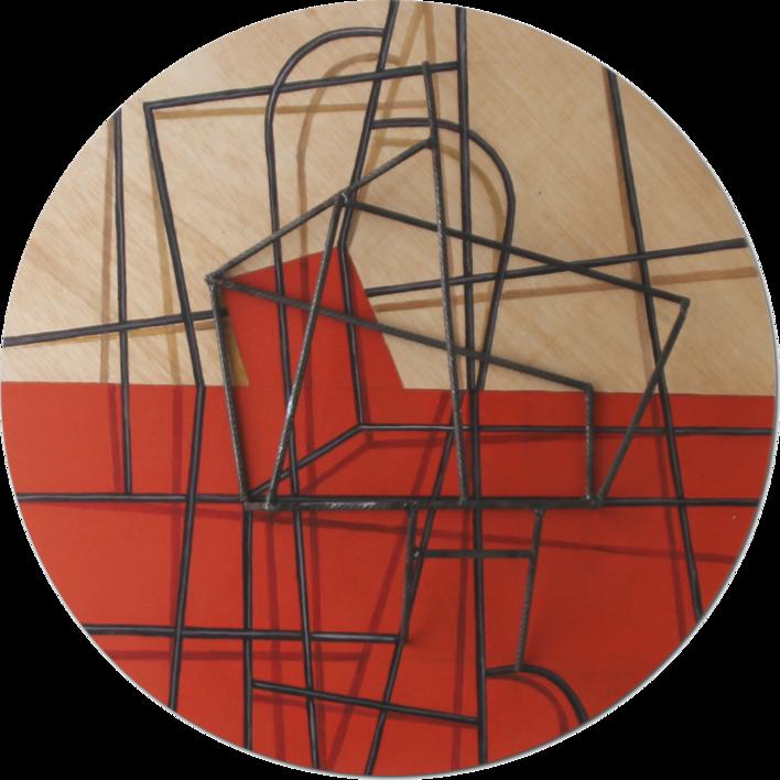 Costelación sobre rojo  Escultura de pared de Manuel Sánchez-Algora   Compra arte en Flecha.es