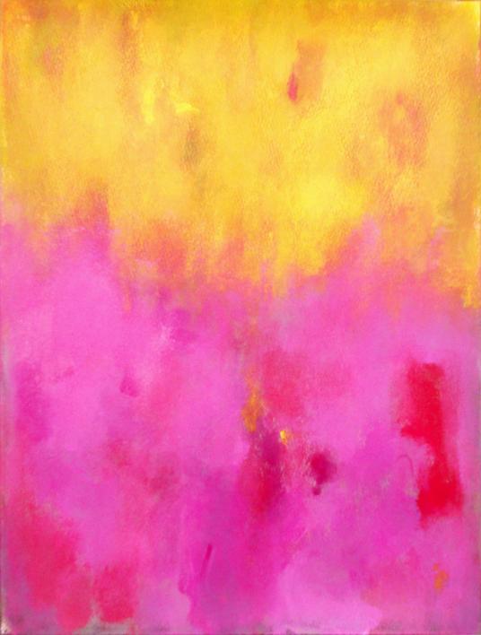 Pink against yellow |Pintura de Luis Medina | Compra arte en Flecha.es