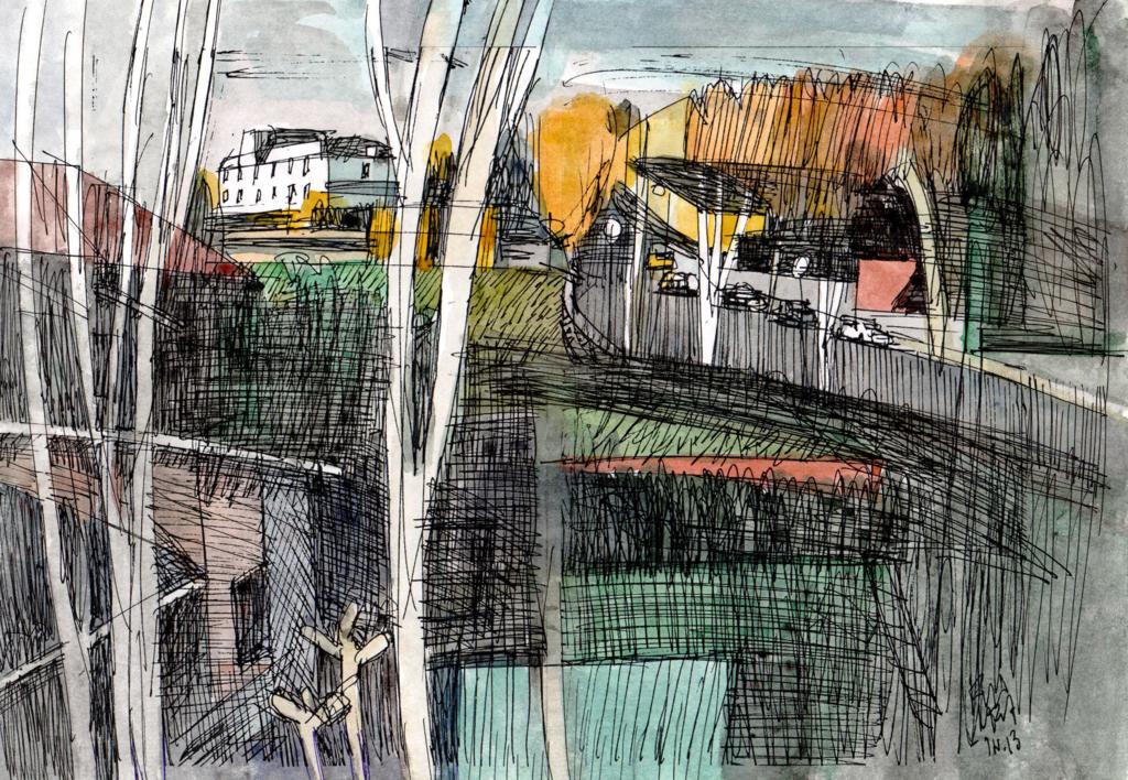 Aravaca, en otoño. |Collage de Eugenio Vega | Compra arte en Flecha.es