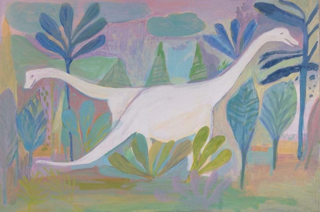 Los dinosaurios felices |Ilustración de Iria | Compra arte en Flecha.es