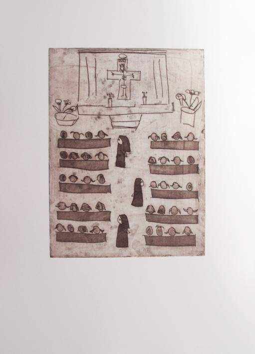 La iglesia |Obra gráfica de Ana Valenciano | Compra arte en Flecha.es