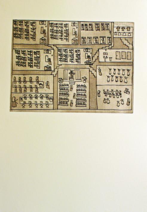 El plano del colegio |Obra gráfica de Ana Valenciano | Compra arte en Flecha.es