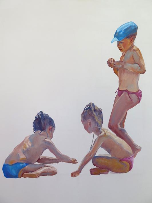 Tres niñas en la playa |Pintura de JESÚS MANUEL MORENO | Compra arte en Flecha.es