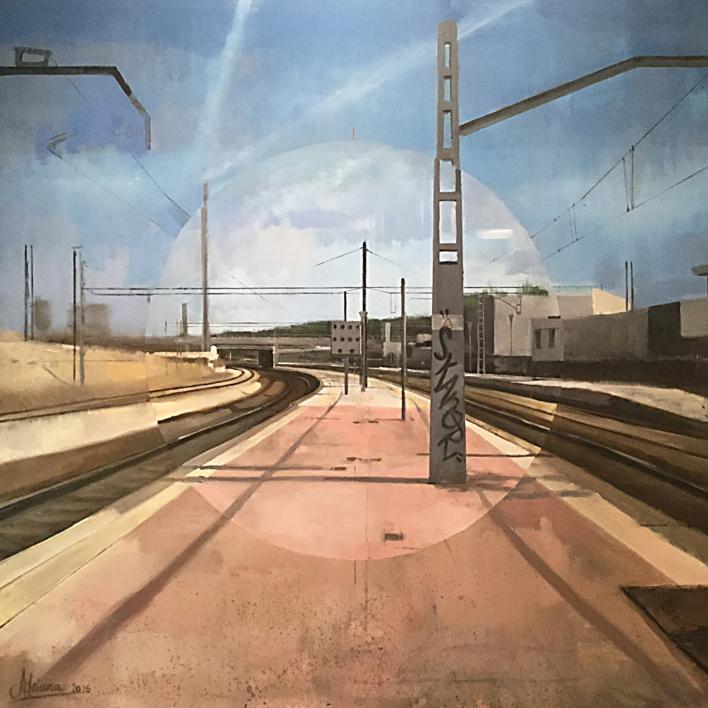 Santa Eugenia Renfe |Pintura de Adriana Berges | Compra arte en Flecha.es
