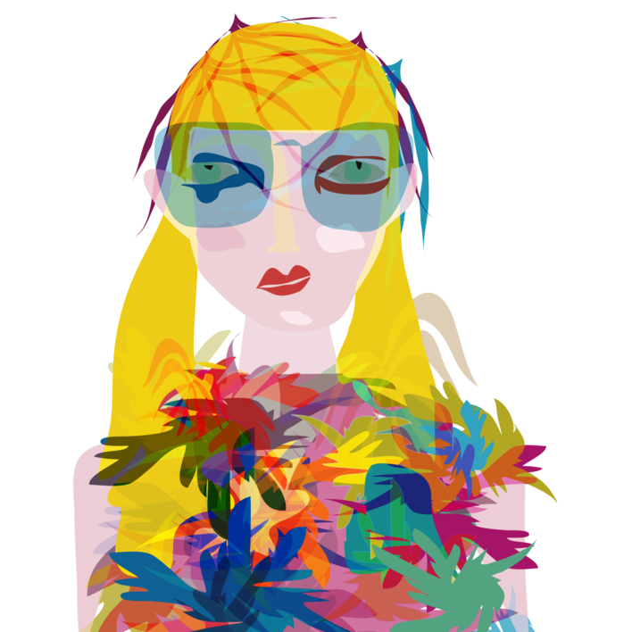 Ella y sus flores |Dibujo de Mariana sanz POPNTOPMAD | Compra arte en Flecha.es