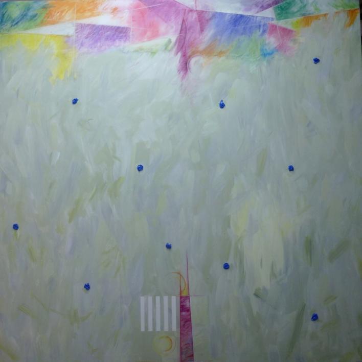 Impactos azules |Pintura de Albarran | Compra arte en Flecha.es