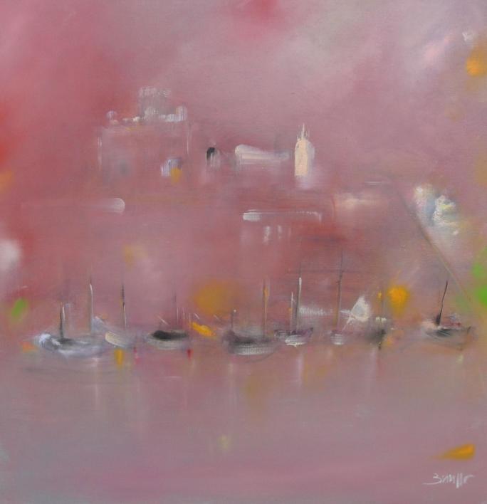 Puerto de Ciudadela al alba |Pintura de María Julia Bennassar | Compra arte en Flecha.es