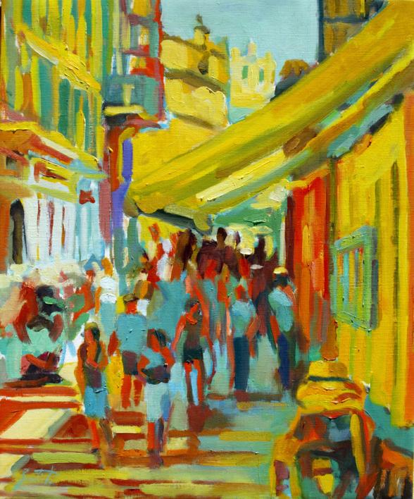 Toldo amarillo |Pintura de José Bautista | Compra arte en Flecha.es