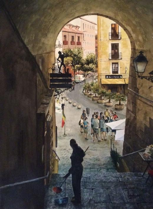 Arco de Cuchilleros, Plaza Mayor, Madrid |Dibujo de Pedro Higueras | Compra arte en Flecha.es