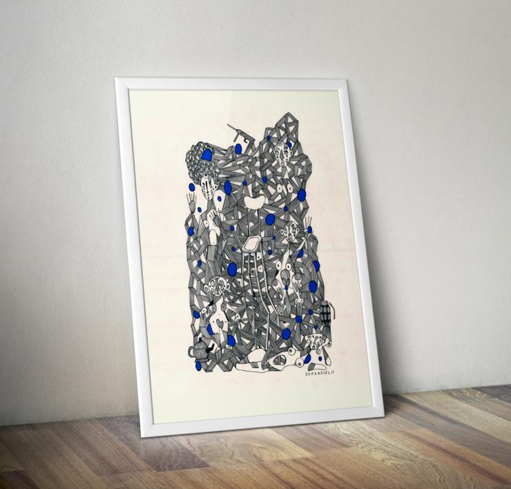 Conexiones programadas | Dibujo de Lucas Zapardiel | Compra arte en Flecha.es