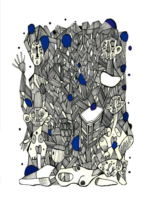 Conexiones programadas II |Dibujo de Lucas Zapardiel | Compra arte en Flecha.es