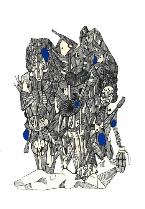 Conexiones programadas III |Dibujo de Lucas Zapardiel | Compra arte en Flecha.es