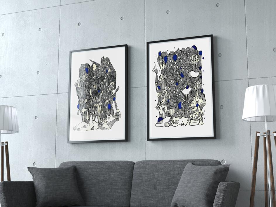 Conexiones programadas III | Dibujo de Lucas Zapardiel | Compra arte en Flecha.es