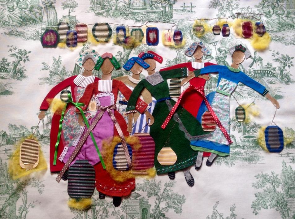 Chicas y Farolillos  Collage de Ruth Álvarez   Compra arte en Flecha.es